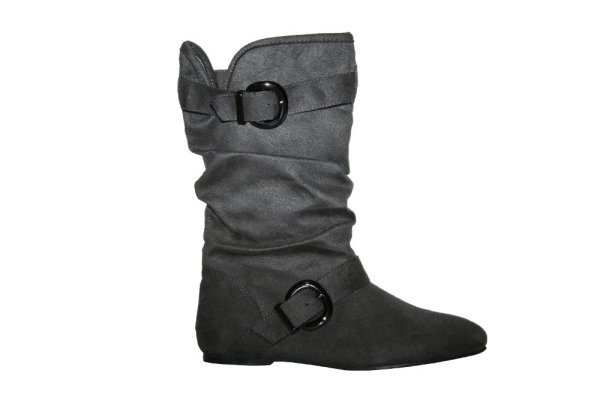 Gray Boots | New Suede Buckle Trendy Boots